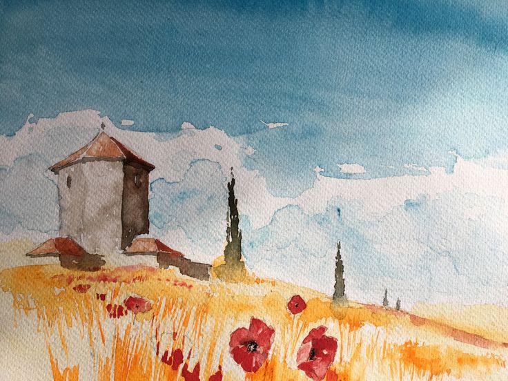 Wheat field. Watercolor.