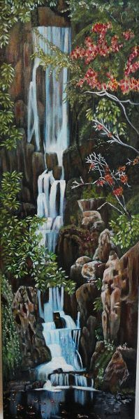 """""""Waterfall""""  12"""" x 36"""" x 1.5"""" acrylic on gallery canvas.  $250 USD plus shipping"""