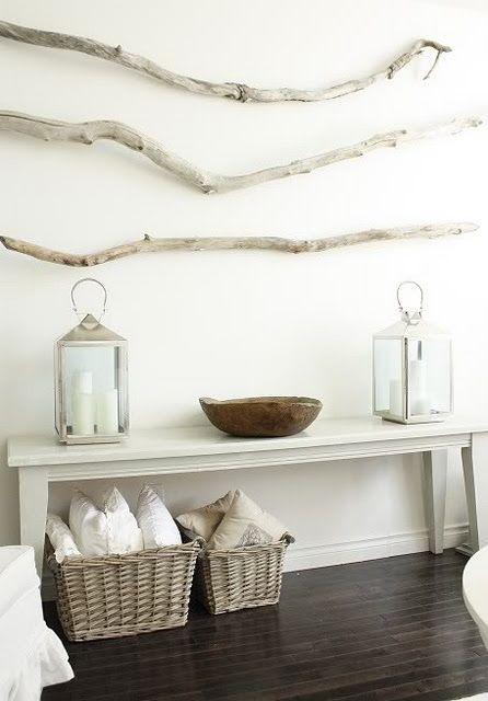 bring the forest inside: Wall Art, Wall Decor, Idea, Benches, Beaches House, Driftwood Art, Drift Wood, Lanterns, Branches