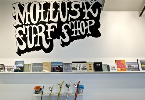 Surf shop (online): Mollusk Surf Shop (http://mollusksurfshop.com). Nice stuff. And good webdesign.