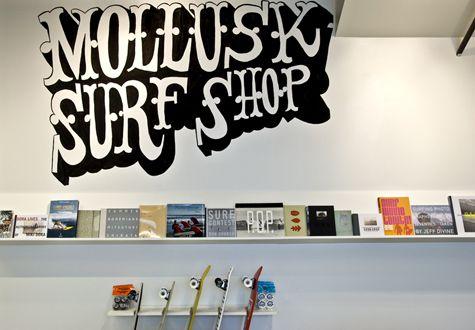 Surf shop (online): Mollusk Surf Shop (http://mollusksurfshop.com). Nice stuff. And good webdesign.