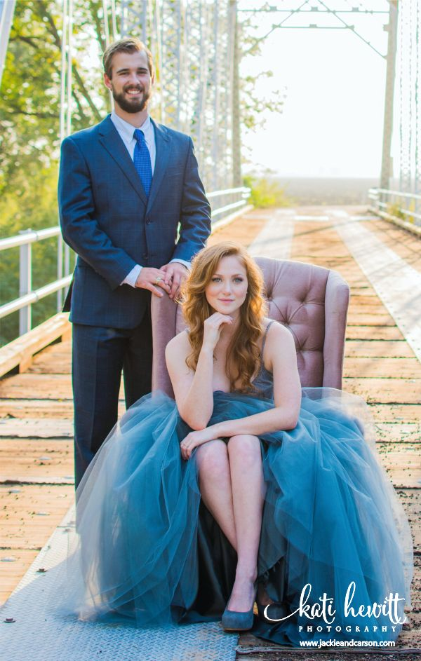 Jackie and Carson's Engagement Photos with photographer Kati Hewitt on bridge near College Station. www.JackieAndCarson.com #VintageChair #TulleSkirt #KatiHewittPhotography