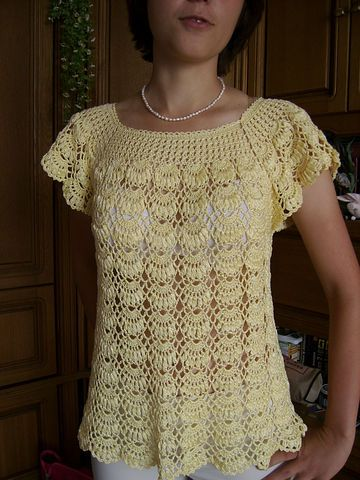 Yellow Shell Top free crochet graph pattern