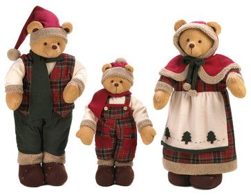 Holiday Bear Family Decor traditional-holiday-accents-and-figurines
