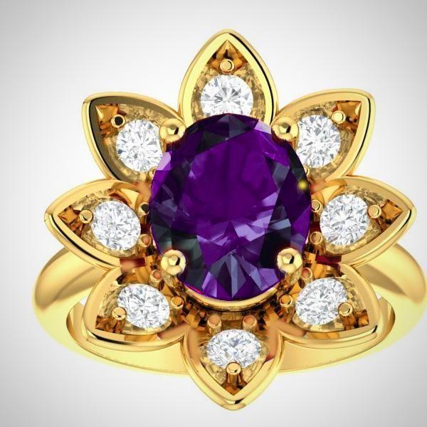 14K Yellow Gold Amethyst and Diamond Flower Ring