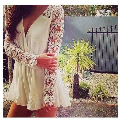 New White Lace Embellished Sleeve Playsuit now available at Ruby Liu! ♥ http://rubyliuboutique.com/collections/lace