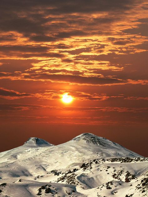Elbrus, the highest peak in Russia and Europe. The mountain, which measures 5,642 meters, lies on the border between the North Caucasus republics of Kabardino-Balkaria and Karachayevo-Cherkessia.