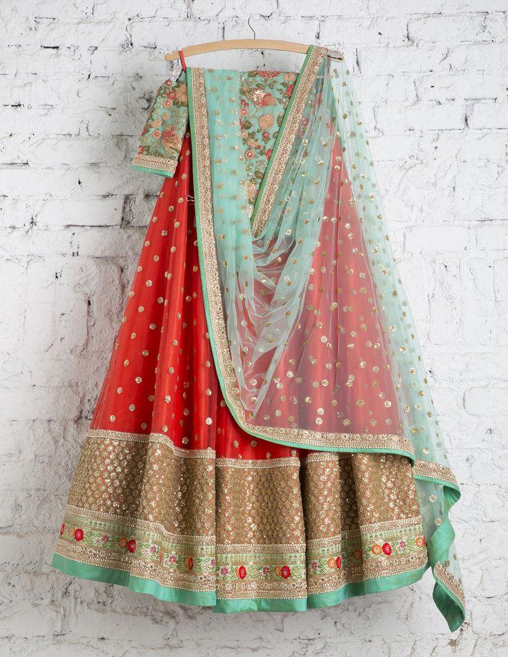 SwatiManish Lehenga SMF LEH 145 17 Lantern Orange lehenga with ocean blue dupatta and blue threadwork blouse