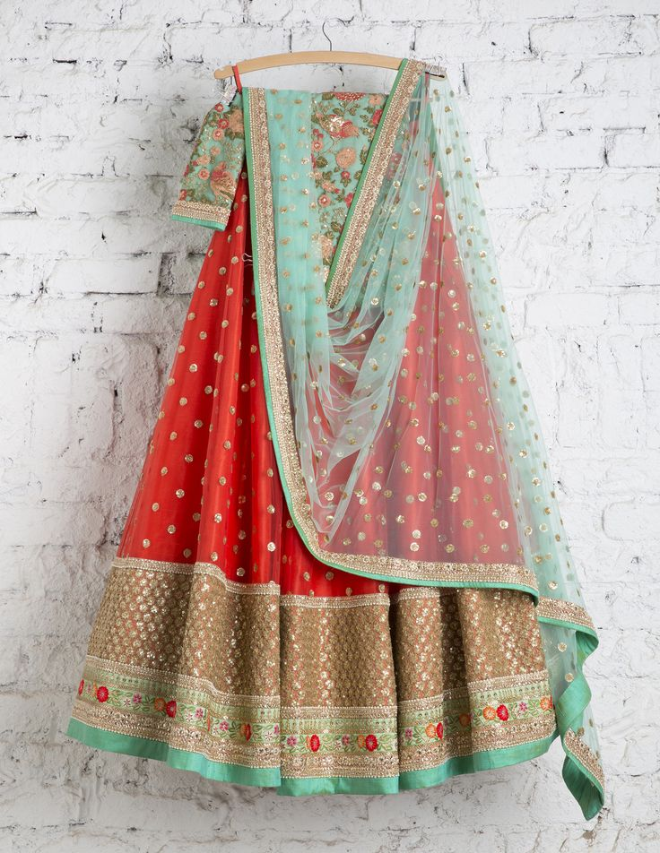 SwatiManish Lehenga SMF LEH 145 17 Lantern Orange lehenga with ocean blue dupatta and blue threadwork blouse