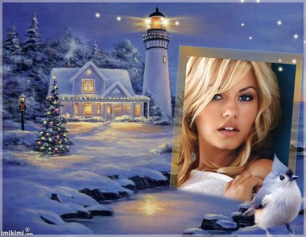 lighthouse and snow. Click to add your own photo  #snow #painting #winter #holiday