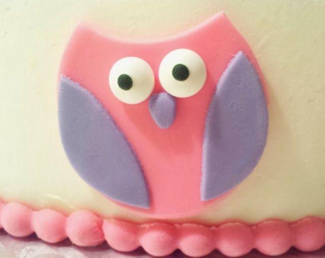 Fondant owl - baby shower cake