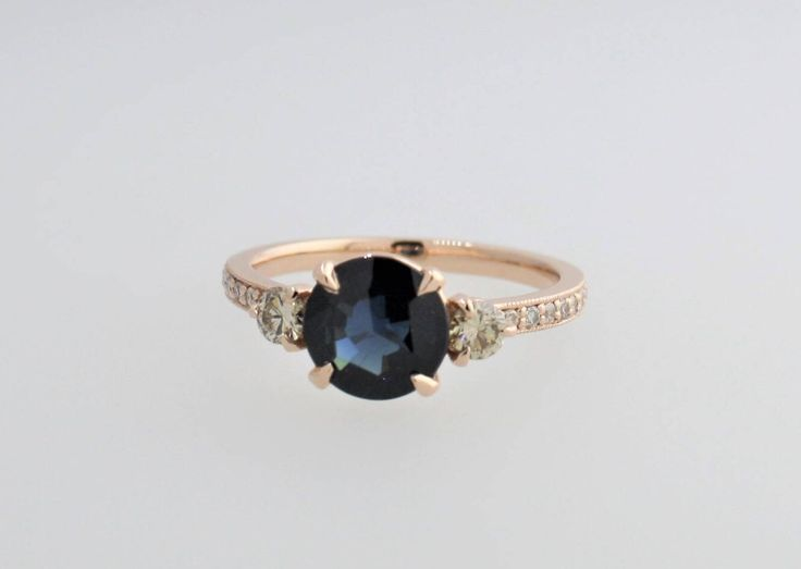 3 Stone Rose Cut Sapphire and Champagne Diamonds Ring in 14K Rose Gold by Studio1040 on Etsy https://www.etsy.com/au/listing/528210319/3-stone-rose-cut-sapphire-and-champagne