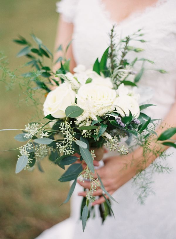 bridal wedding bouquet with white roses, garden roses, eucalyptus, sage, ferns, rosemary, lavender
