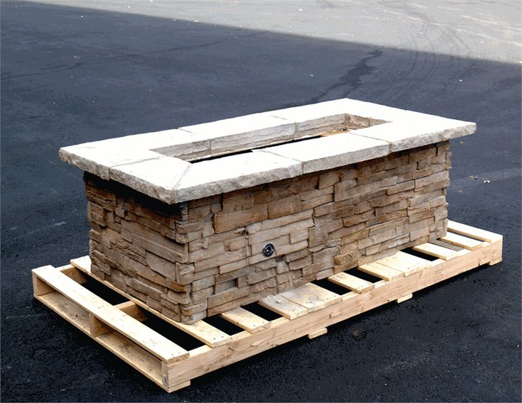 Rectangular Stone Natural Gas Fire Pit