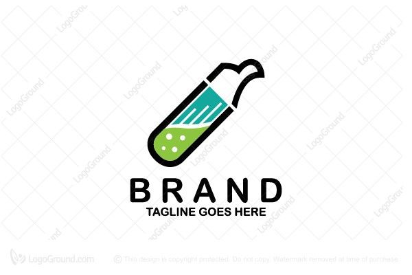 Modern logo of an eagle that is shapes with test tube that has green liquid inside and blue lines representing wing. Colors are black, green and blue. Related keywords: brand, identity, logo, logos, bird, lab, laboratory, animal, eagle, test tube, medical, medicine, research.