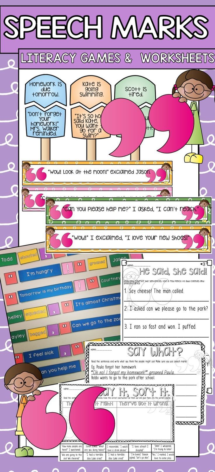 Speech mark grammar and punctuation practise centres and worksheets