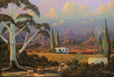 Farm With Trees, Windmill Against Mountains - At Botha