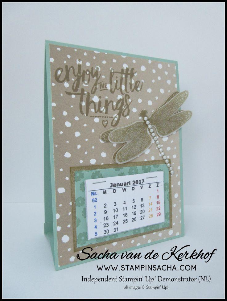 Stampin' Sacha - Stampin' Up! - Spring-Summer Catalogue 2017 - Annual Catalogue 2016-017 - Detailed Dragonfly Thinlits - Dragonfly Dreams - Layering Love - Serene Scenery DSP - Mint Macaron - Crumb Cake -   Desktop Calendar - #stampin_sacha - #stampinup