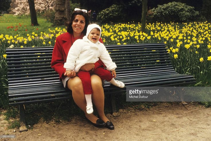 Christina Onassis, daughter of Greek shipping magnet Aristotle Onassis, poses with her daughter Athina at Le Jardin d'Acclimation in Paris, France.
