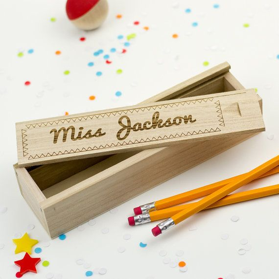 This personalised wooden pencil box makes the perfect teacher gift as it can be personalized with their name and includes a funky laser engraved border. Keep your pencils, crayons, felt tips and other stationary safe with this wooden pencil case that can be personalised with any name. The all-wood construction features a sliding laser-engraved lid and the case has a natural wood appearance. Its great for children and adults alike and makes a great gift for any keen artist. The pencil case…