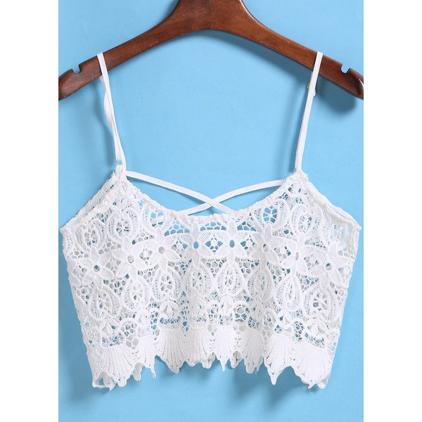 White Spaghetti Strap Hollow Lace Cami Top ($13) ❤ liked on Polyvore featuring tops, white, lace camisole top, white lace camisole, lace camis, white lace top and cami tank top