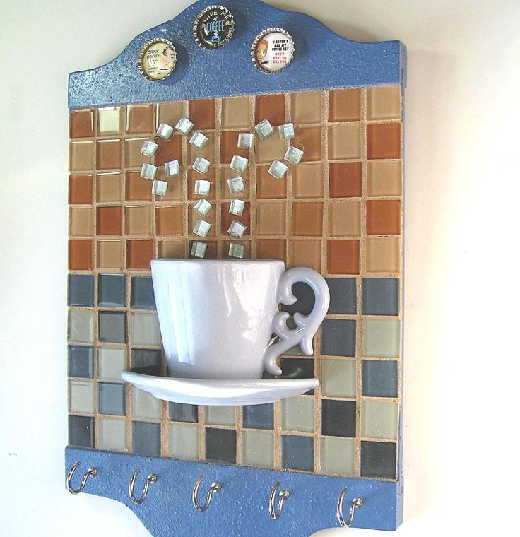 Coffee Cup Mosaic Kitchen Towel Hook Key Hook Wall Hanging. $54.75, via Etsy.