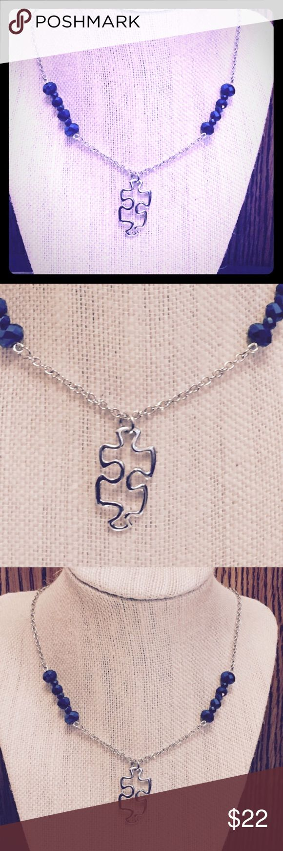Puzzle Piece Blue Beaded Necklace Beautiful Puzzle Piece Necklace! A puzzle piece pendent with electric blue beading on each side! This necklace also shows off the support & awareness for the family's affected by autism. ❤️ Handmade by Ivy Leaf Accessories!  Jewelry Necklaces