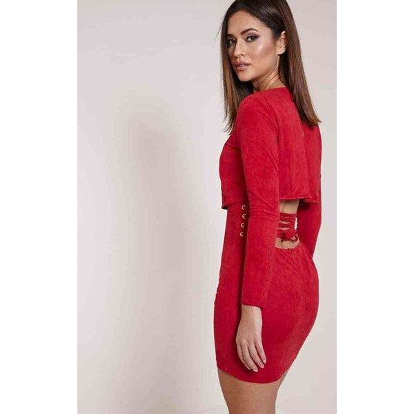 Cayte Burgundy Faux Suede Strappy Back Bodycon Dress ($32) ❤ liked on Polyvore featuring dresses, red, pink bodycon dress, sexy bodycon dresses, sexy red cocktail dress, burgundy red dress and pink dress