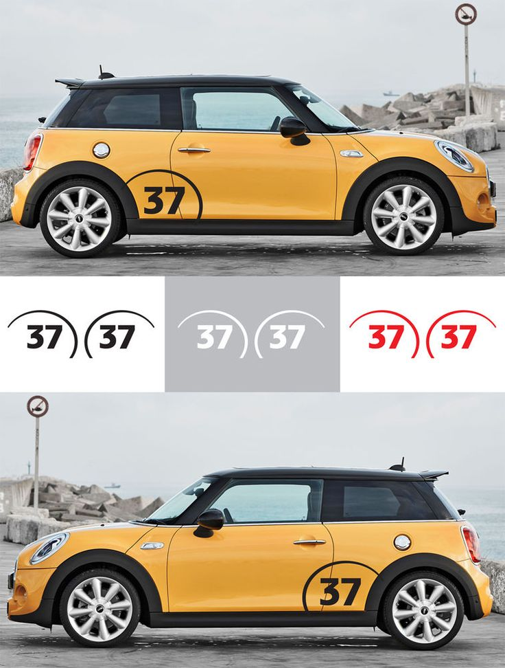 2pcs Racing Custom Number Vinyl Fender Decal Graphic Mini