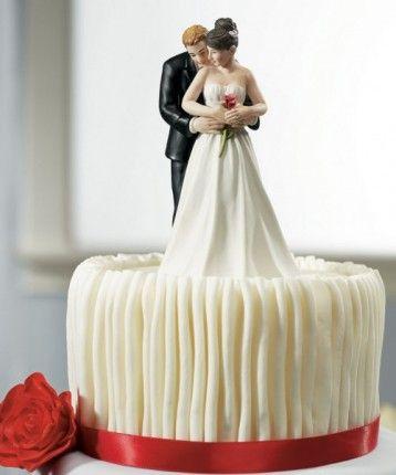 2014 oui à la rose mariée et le marié gâteau de mariage d'un couple figurine