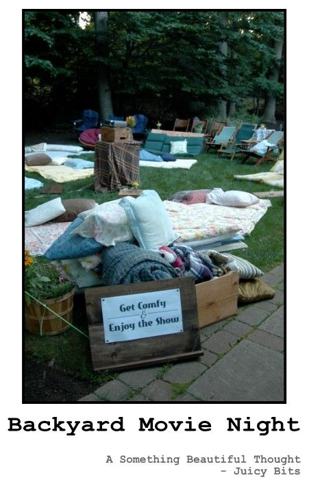 "Outdoor movie night - thrift store sheets and pillows for outdoor movie night. there's something that just feels so ""real"" about the big screen and being outdoors. #green_games_garden, http://juicy-bits.typepad.com/juicy_bits/2012/07/210-backyard-movie-night.html"