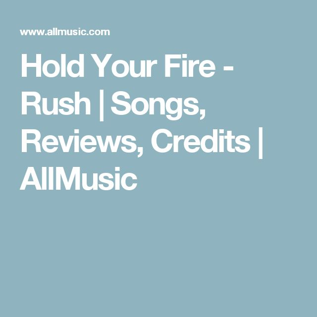 Hold Your Fire - Rush | Songs, Reviews, Credits | AllMusic