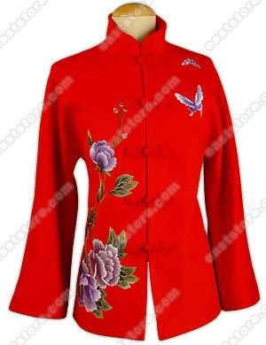 Aristocratic Peony Embroidered Cashmere Jacket : EastStore.com