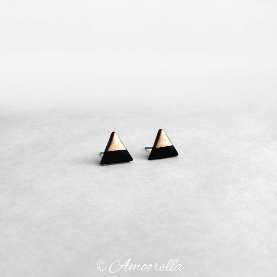 Black & Rose Gold Dipped Triangle Stud Earrings - Titanium Post Minimalist Modern Geo Geometric Hypoallergenic Jewelry on Etsy, $10.00