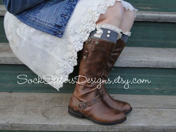 Boot Socks in Chevron Pattern with Ivory Lace -  Sock Sisters Knee High Boot Sock via Etsy
