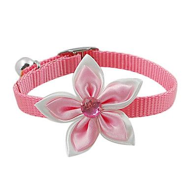 Diamond Pistil Flower Imitation Leather Button Collar with Little Bell for Dogs (Assorted Color) – USD $ 4.39