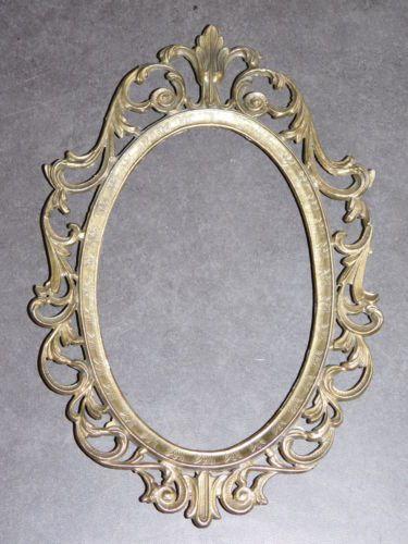 Petit cadre ancien en metal dore 14cmx21cm deco baroque for Miroir bordure doree