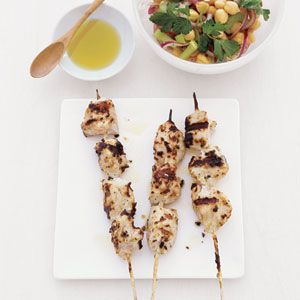 30 Easy Chicken Dishes from Real Simple | Chicken Kebabs with Chickpea Salad | MyRecipes.com