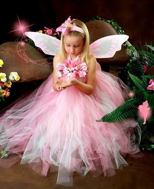Bridesmaid fairy dresses | ... Fairy Princess Look Dress Wings Headband Wand Birthday Halloween Dress