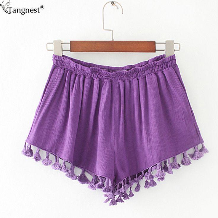 TANGNEST Summer Beach Draped Shorts 2017 New Brand Hot Women's Casual Short Pants Sexy Hanging Ball Shorts Soft Fabric WKD499