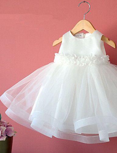 Robe de Demoiselle d'Honneur Fille - A-line Longueur mollet Sans manches Coton/Tulle/Polyester – EUR € 43.17