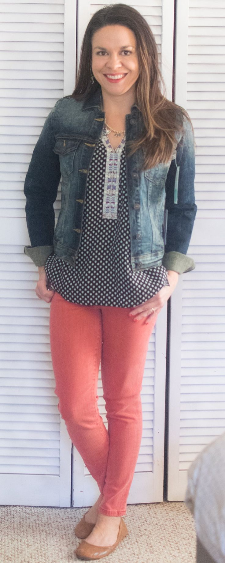 Liverpool Adele Skinny Jean Just USA Anjuli Dark Wash Denim Jacket Skies are Blue Brecken Mixed Material Top Stitch Fix Review March 2017