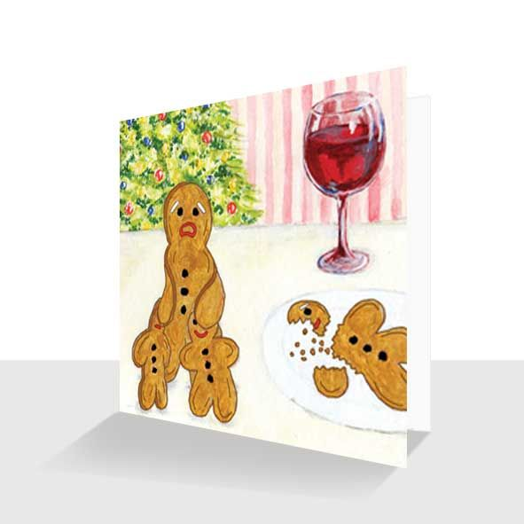 Humorous Christmas Card : Gingerbread Men, Unique Greeting Cards Online, Buy Luxury Handmade Cards, Unusual Cute Birthday Cards and Quality Christmas Cards by Paradis Terrestre