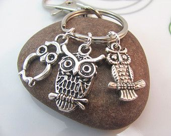 Owl  Keychain Keyring Three mini owls charms with swivel clasp