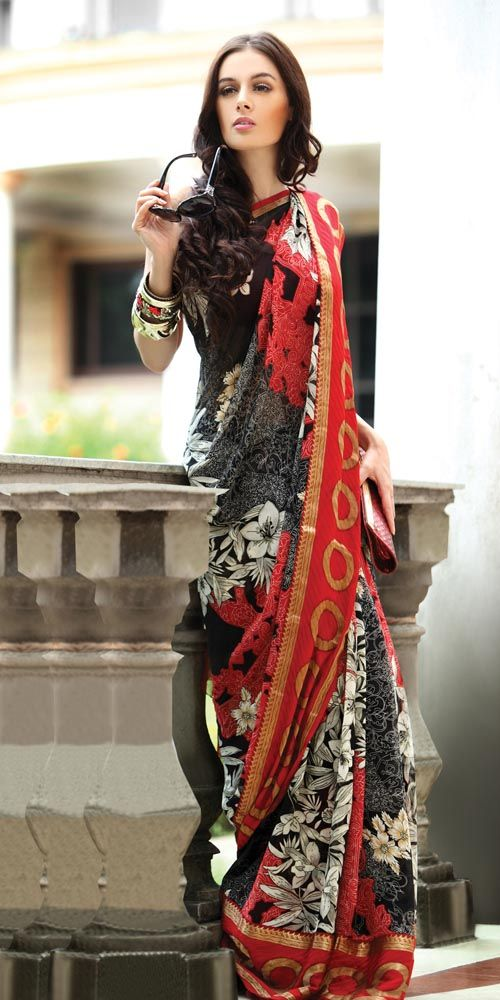 Stylish Black & Red Saree #saree #sari #blouse #indian #outfit #shaadi #bridal #fashion #style #desi #designer #wedding #gorgeous #beautiful