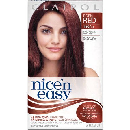 Clairol Nice 'N Easy Born Red Permanent Hair Color Kit, 4BG/113 Natural Dark Burgundy