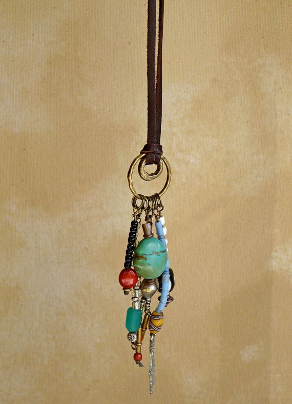 ´⁀°☽♥☾ •. Sundance  Pendant  on Leather with Cascading Beads Great use for leftover beads: