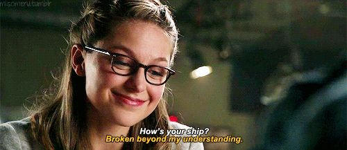 """How's your ship?"" ""Broken. Beyond my understanding."" Same, Mon-El! Seriously, I need information on the Legion and SOON. I'm trying to buy the Mon/Imra thing, but I just...kind of...don't. There's something rotten in the state of Denmark. (gif by misomeru on tumblr) 