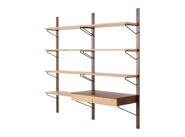Jory Modular Shelves and Desk, Walnut and Oak