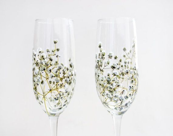 Glass Champagne Flutes Set of 2 Baby's Breath